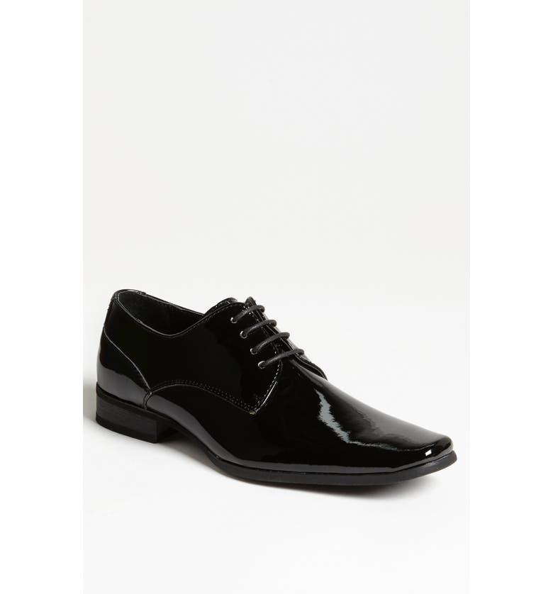 CALVIN KLEIN 'Brodie' Plain Toe Derby, Main, color, BLACK PATENT