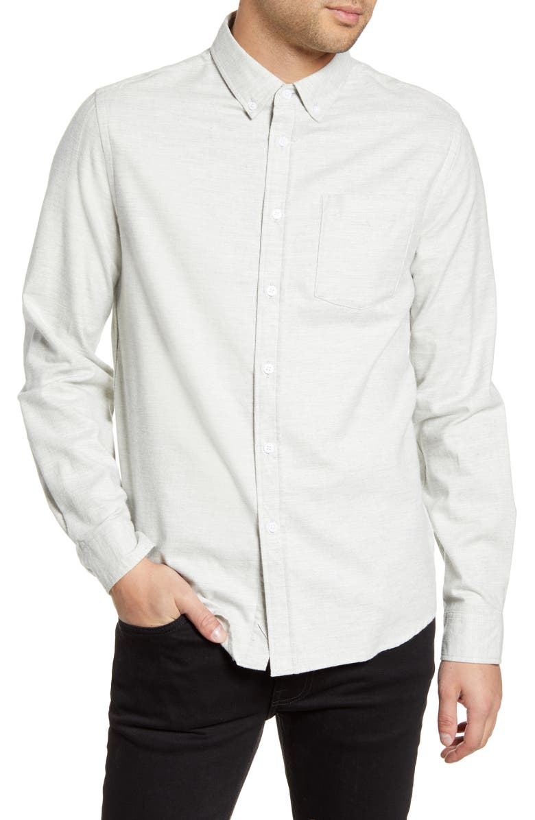 SATURDAYS NYC Crosby Button-Down Flannel Shirt, Main, color, ASH HEATHER