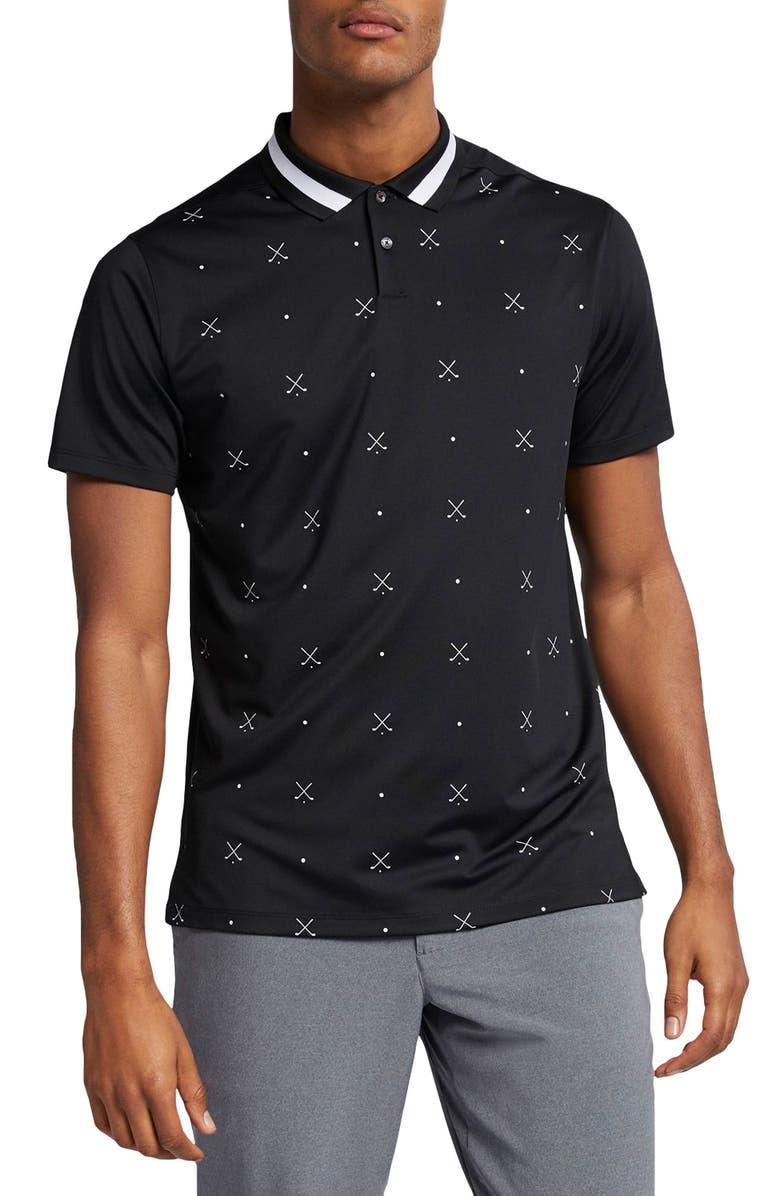NIKE Dri-FIT Vapor Golf Polo, Main, color, BLACK/ WHITE/ BLACK