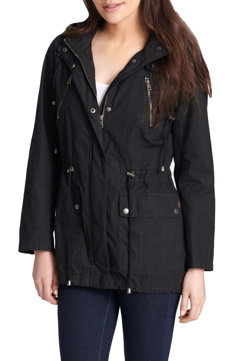 LEVI'S<SUP>®</SUP> Parachute Hooded Cotton Utility Jacket, Main, color, 001