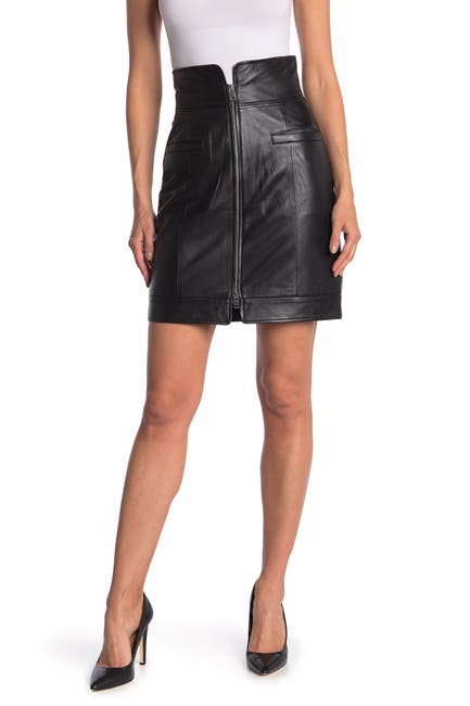 Image of Walter Baker Dana Leather Front Zip Skirt