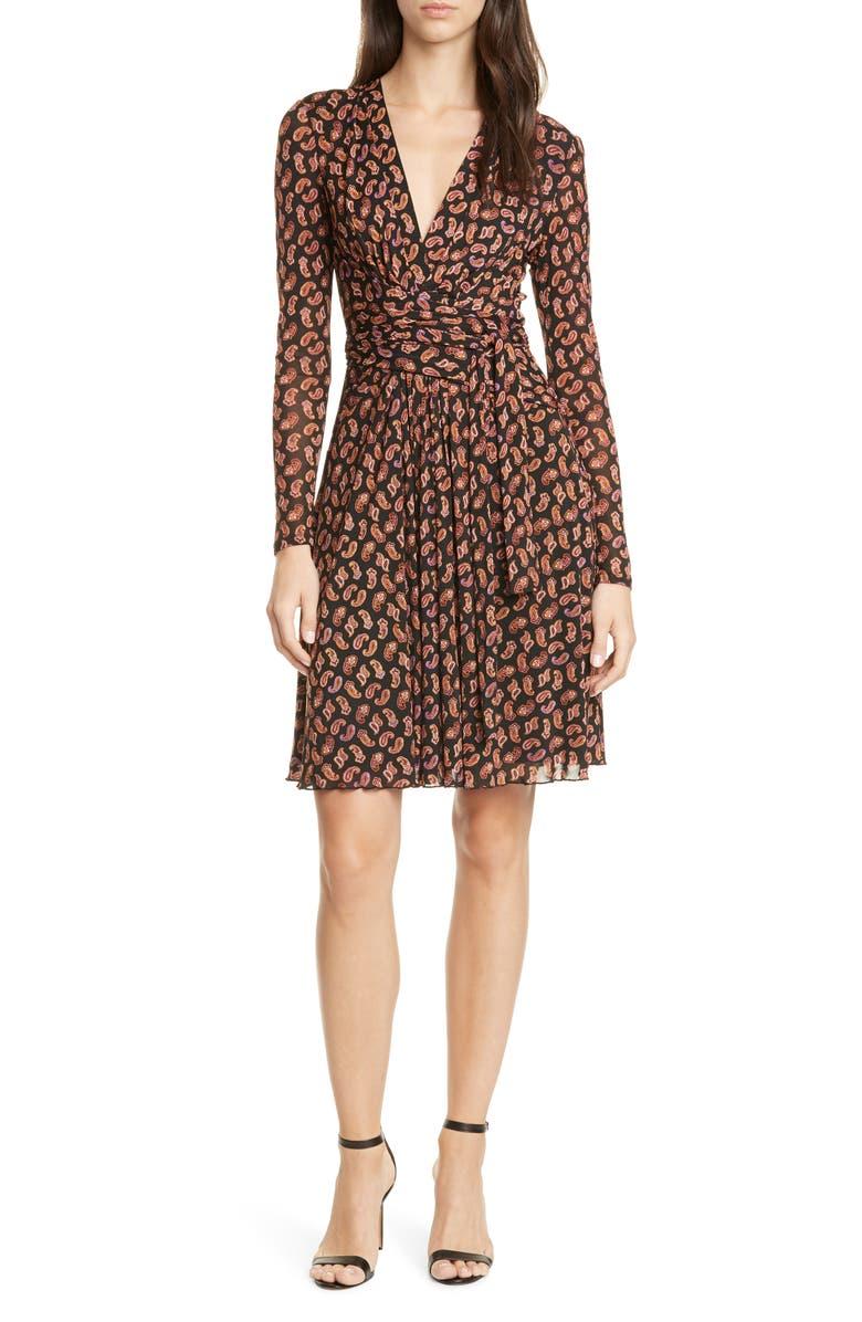 DVF Brenda Long Sleeve Wrap Dress, Main, color, TIE PAISLEY BLACK