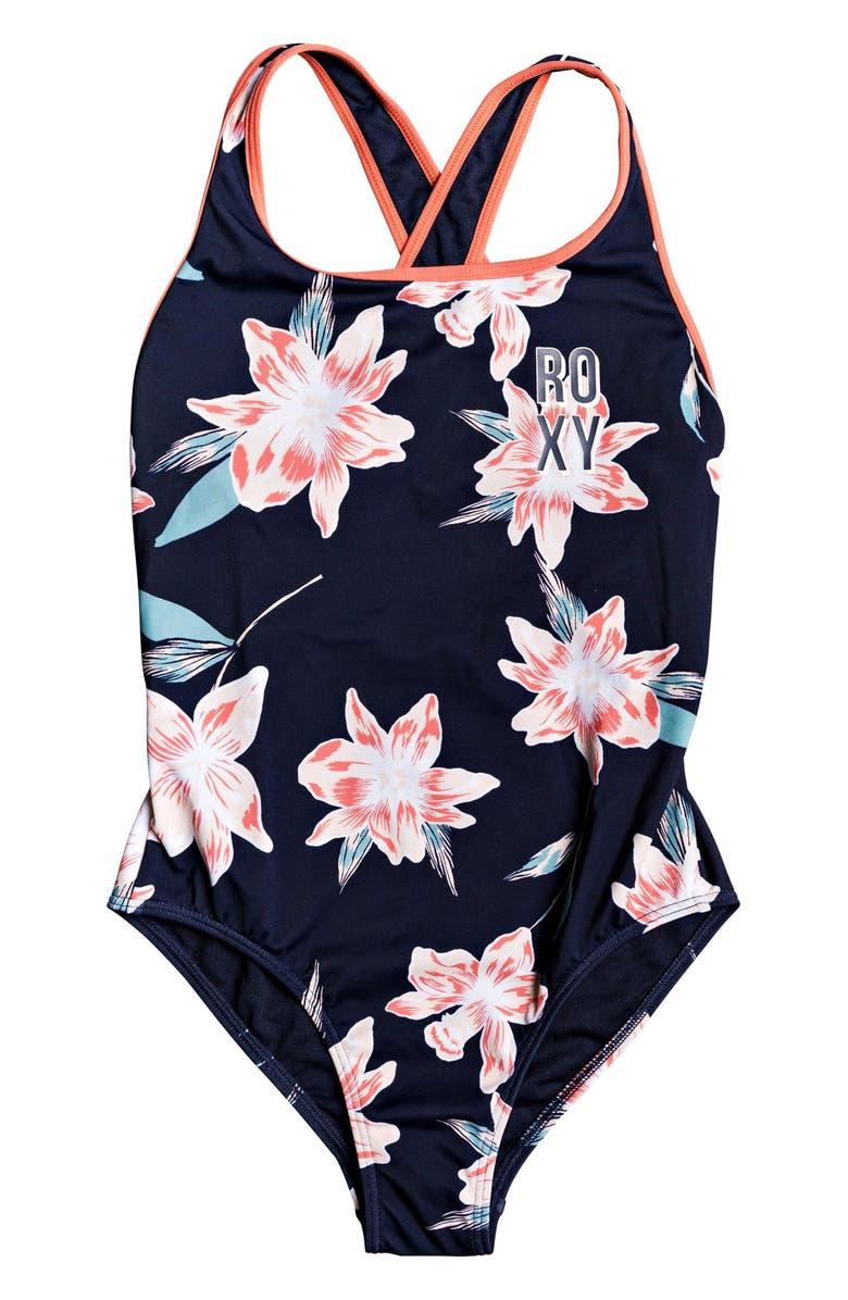 ROXY Shore One-Piece Swimsuit, Main, color, MOOD INDIGO F TANDEM