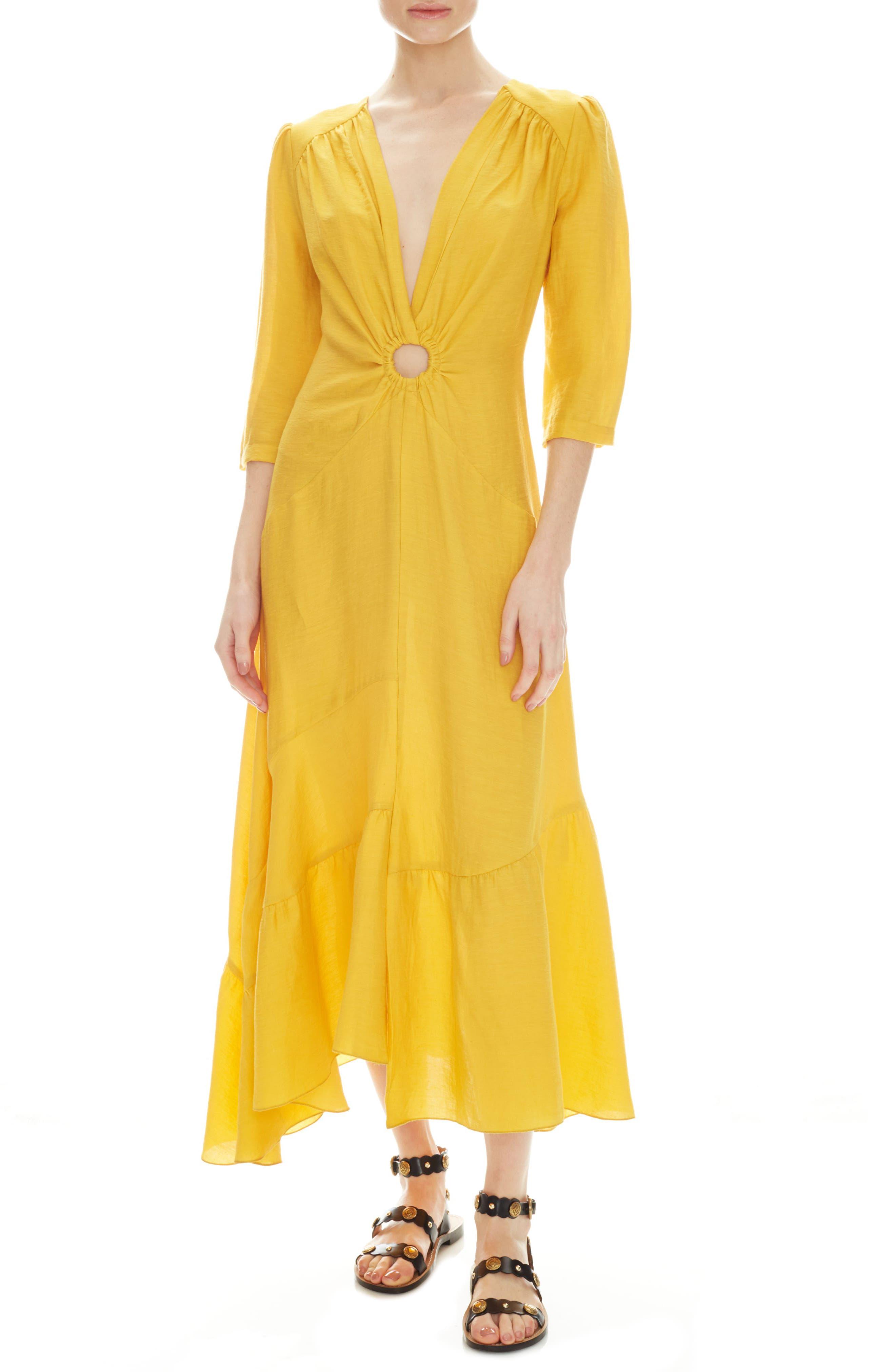 Sandro Tamara Circle Detail Plunge Neck Dress, 6 FR - Yellow