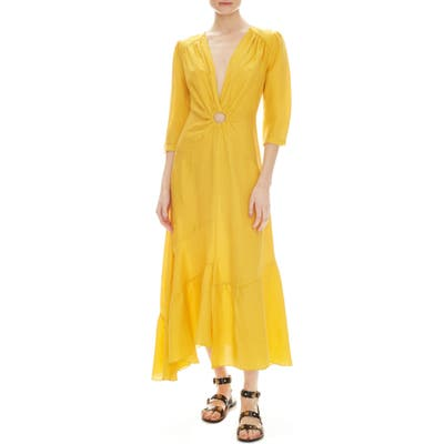 Sandro Tamara Circle Detail Plunge Neck Dress, 6 FR - Yellow