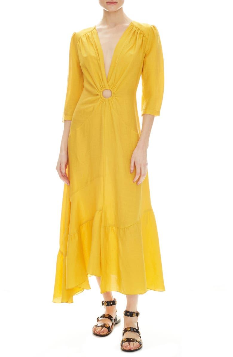 SANDRO Tamara Circle Detail Plunge Neck Dress, Main, color, 700