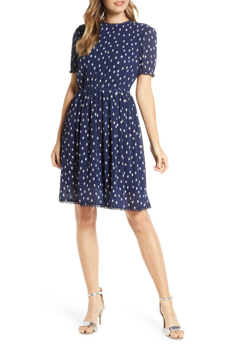 1901 Polka Dot Chiffon Fit & Flare Dress, Main, color, NAVY DOT