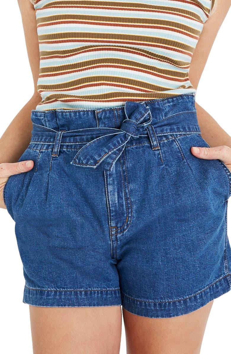 MADEWELL Paperbag Waist Denim Shorts, Main, color, 400
