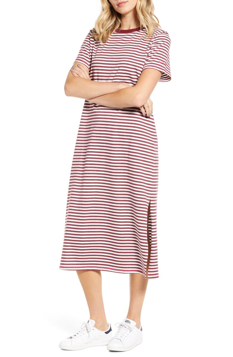 BAN.DO Stripe Midi T-Shirt Dress, Main, color, MULTI