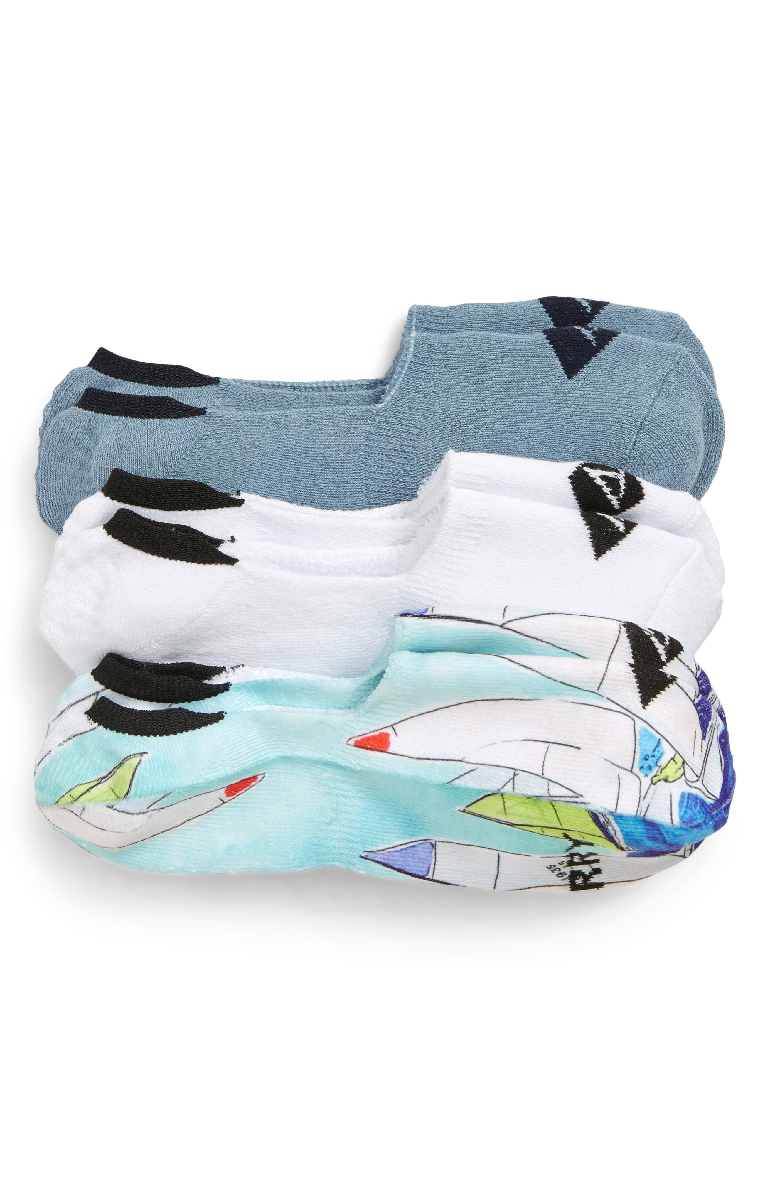 ,                             Top-Sider<sup>®</sup> Regatta Assorted 3-Pack Liner Socks,                             Main thumbnail 1, color,                             BLUE ASST