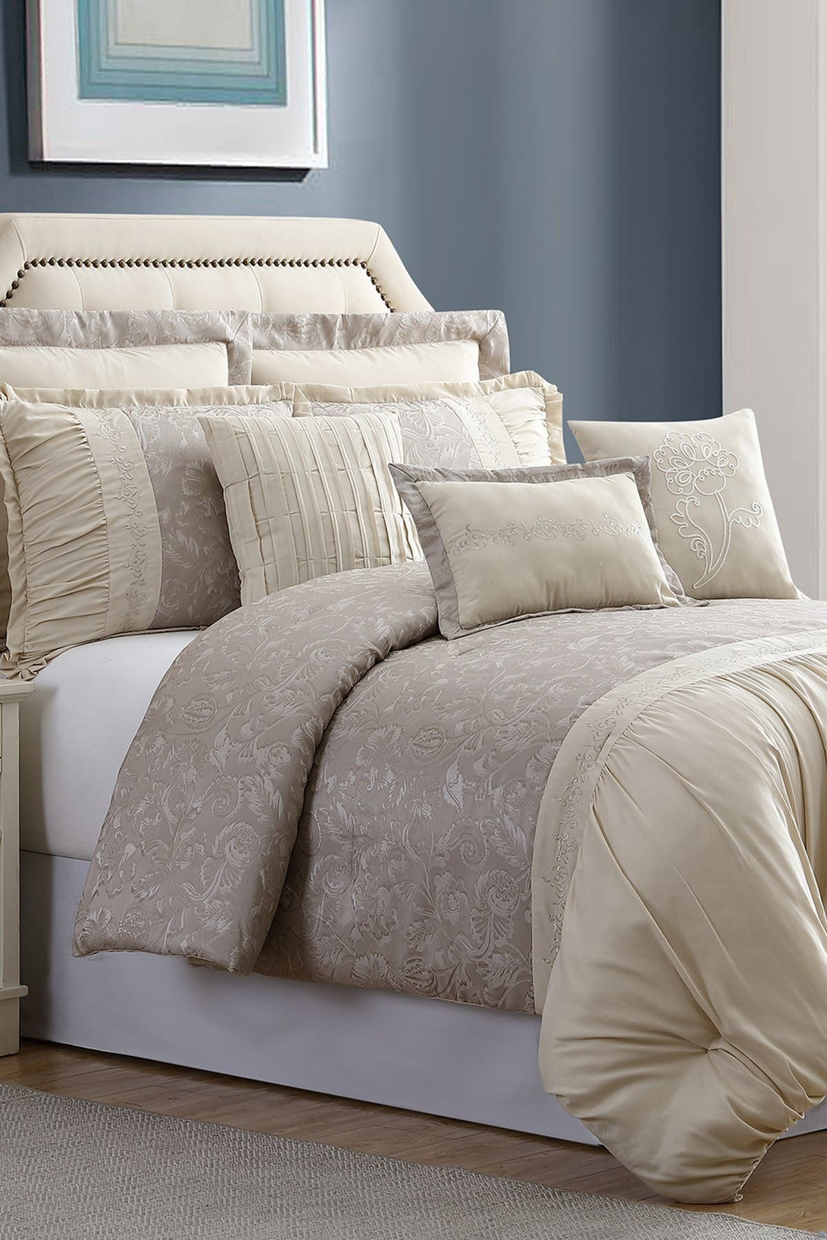 Image of Modern Threads Queen Jardin Jacquard Comforter Set - Tan