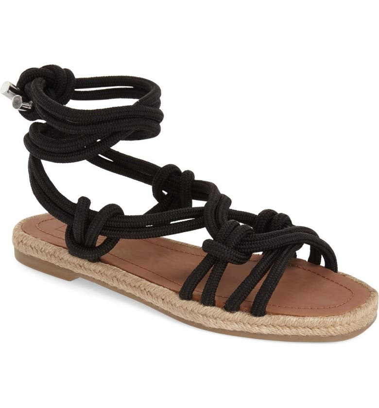 TOPSHOP Knotted Cord Tie Sandal, Main, color, 001