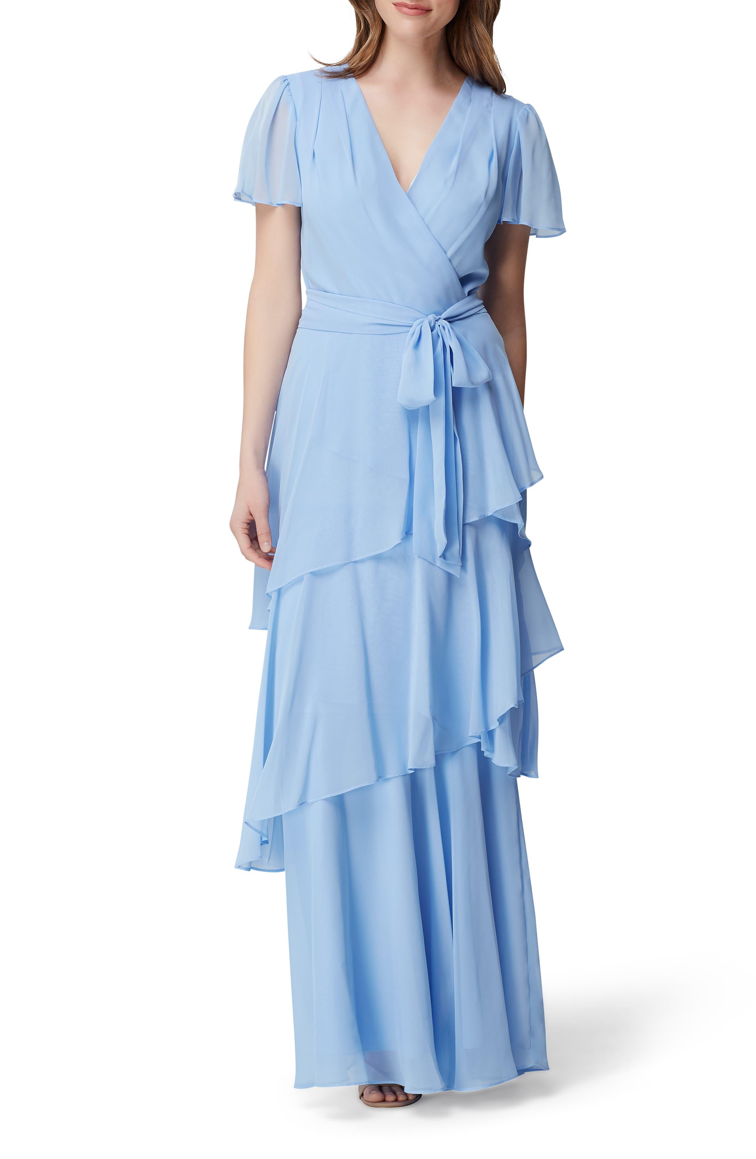 Tahari Flutter Sleeve Tiered Ruffle Chiffon Evening Gown, Blue