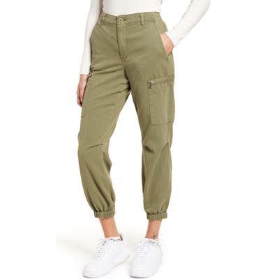 Blanknyc Garment Dyed Twill Cargo Jogger Pants, Orange