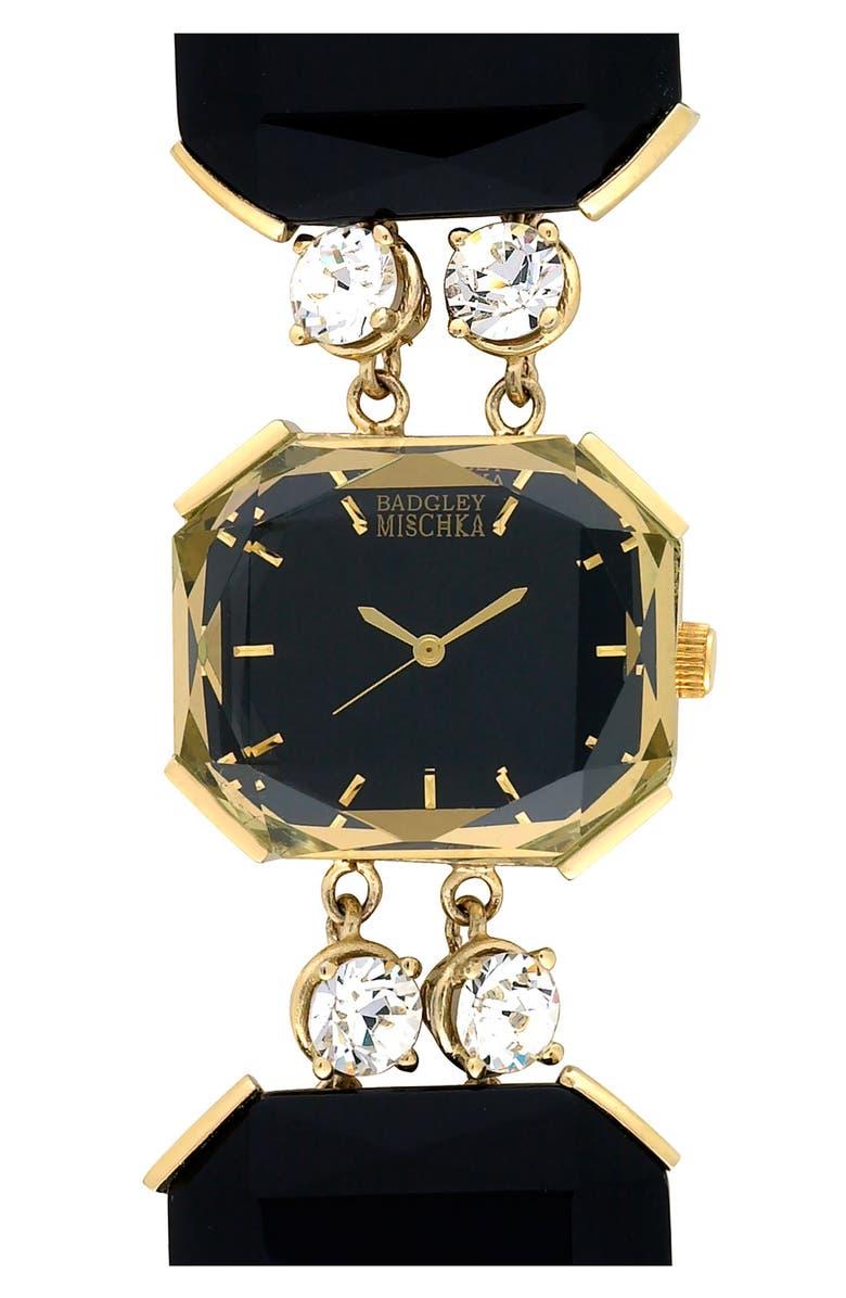 BADGLEY MISCHKA COLLECTION Badgley Mischka Square Bracelet Watch, Main, color, GOLD/ BLACK