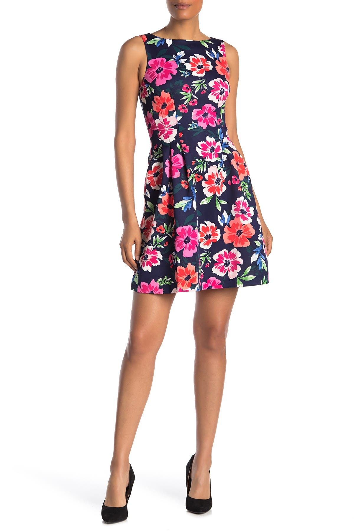 Image of Vince Camuto Floral Sleeveless Scuba Fit & Flare Dress