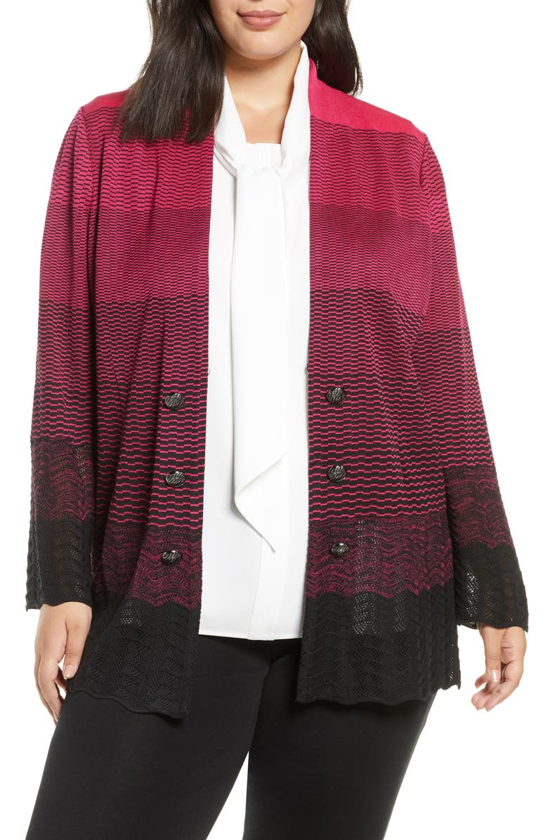 MING WANG Ombré Knit Jacket, Main, color, BRIGHT ROSE/ BLACK