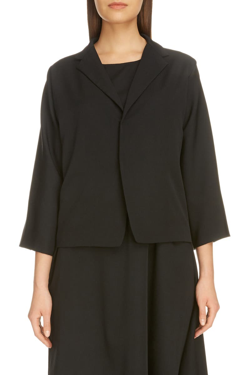 Y'S BY YOHJI YAMAMOTO Wool Gabardine Jacket, Main, color, BLACK