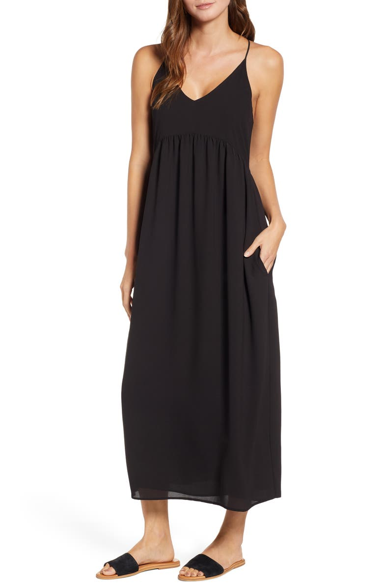 GIBSON x Hi Sugarplum! Palm Springs Festival Maxi Dress, Main, color, BLACK