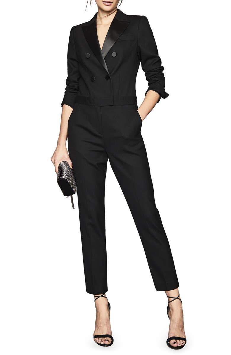 REISS Mariana Long Sleeve Tuxedo Jumpsuit, Main, color, BLACK