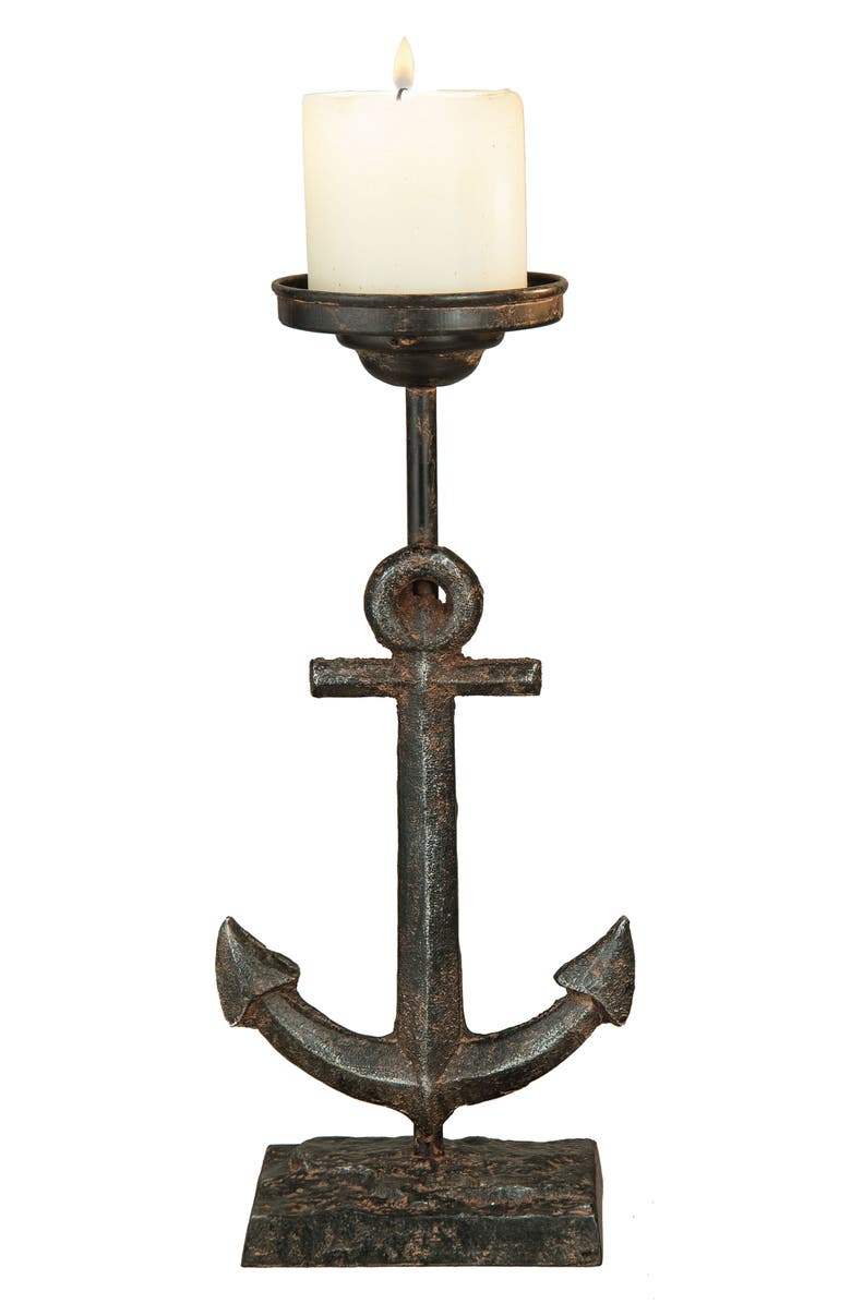 FORESIDE Anchor Pillar Candleholder, Main, color, METAL
