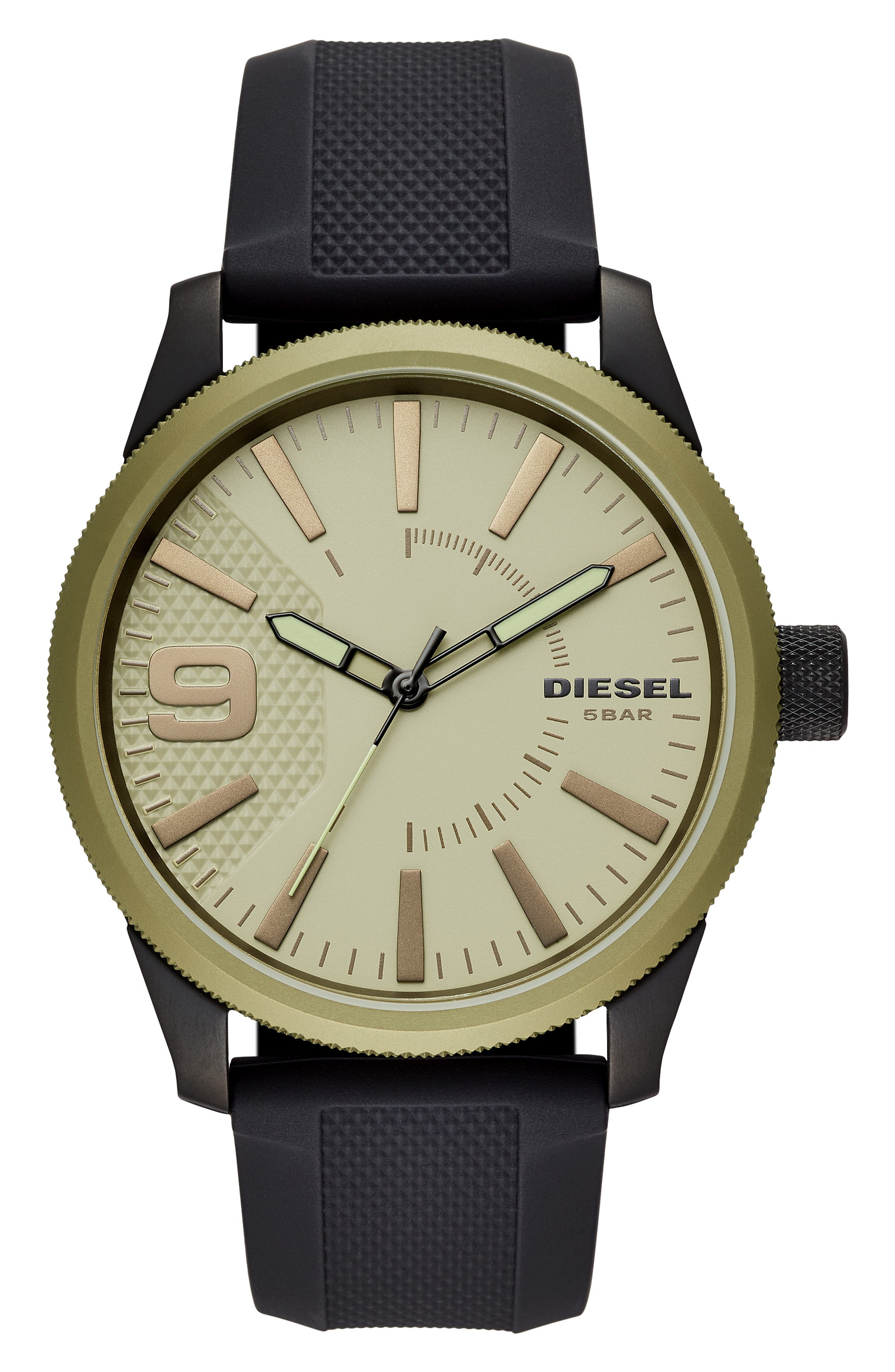 ,                             Rasp Silicone Strap Watch, 46mm,                             Main thumbnail 1, color,                             BLACK