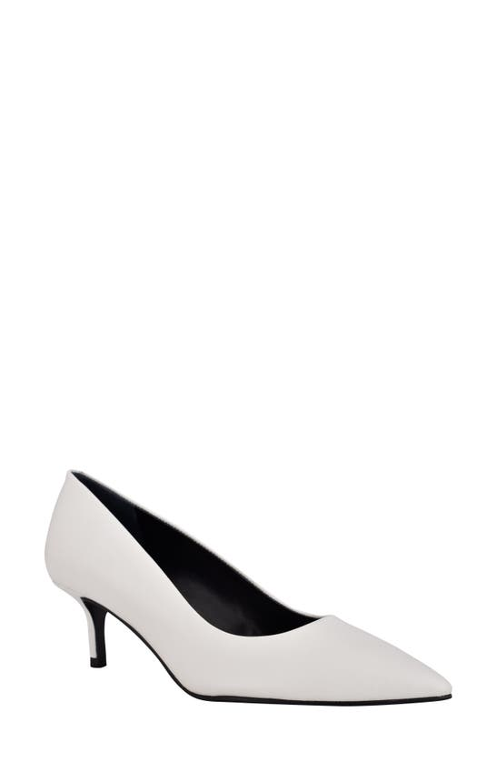 Calvin Klein Women's Danica Pointy Toe Pumps Women's Shoes In White Leather