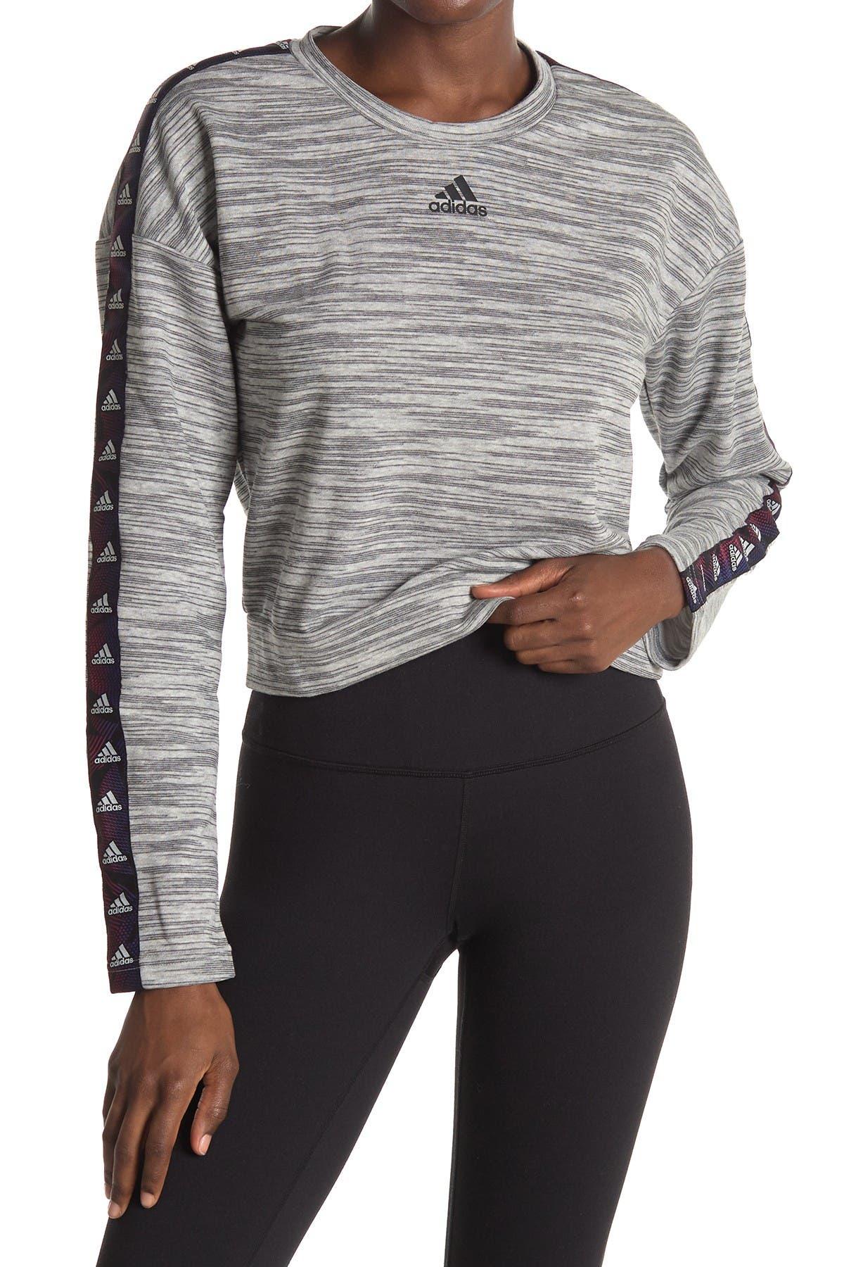 Image of adidas Heathered Knit Cropped Sweater