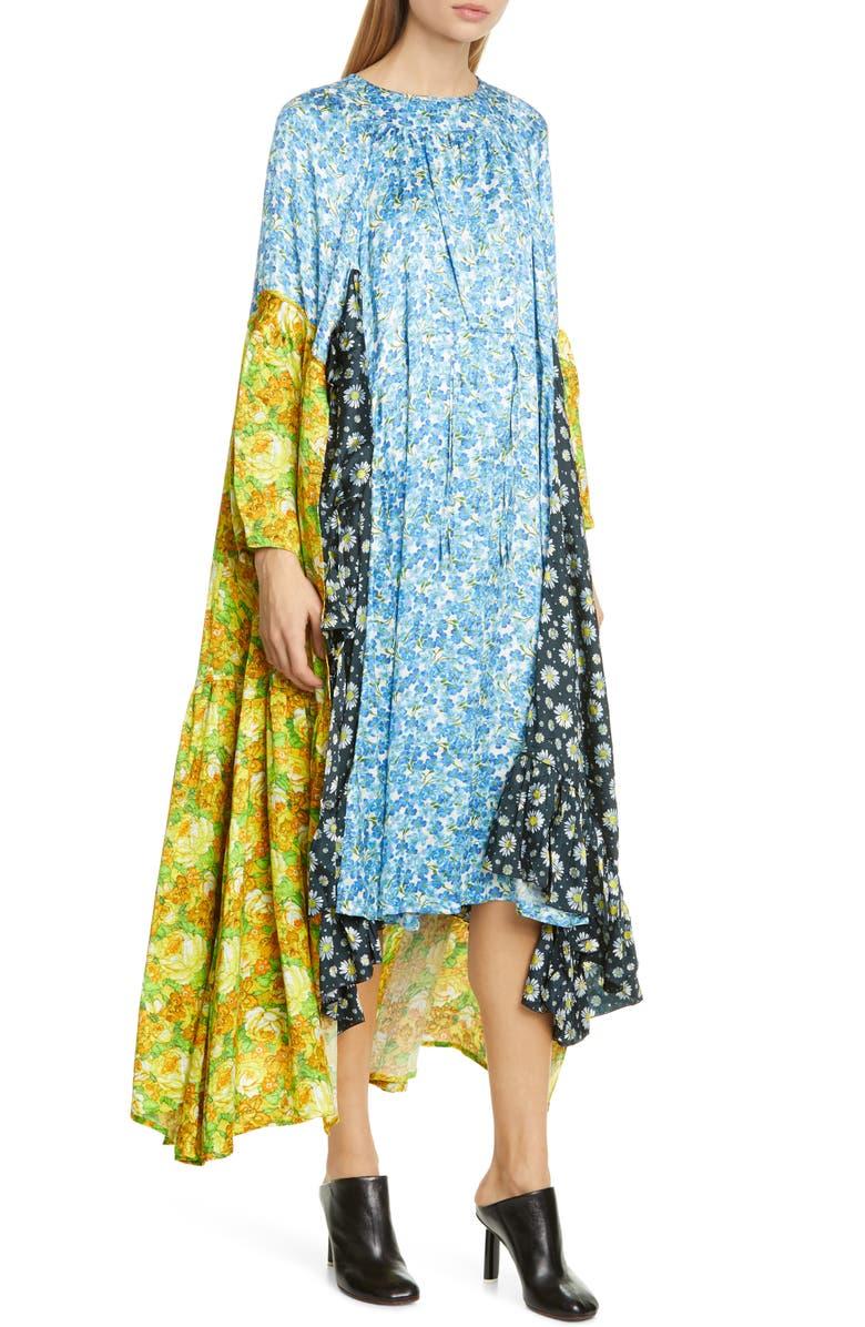 VETEMENTS Mixed Floral Print Long Sleeve Midi Dress, Main, color, BLUE VIOLET MULTI COLOR