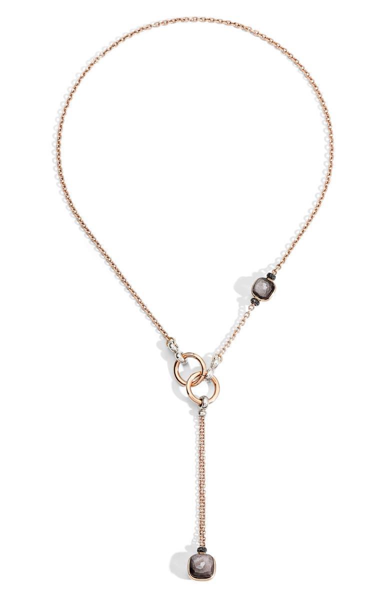 POMELLATO Nudo Obsidian & Black Diamond Lariat Necklace, Main, color, ROSE GOLD/ OBSIDIAN/ BLACK