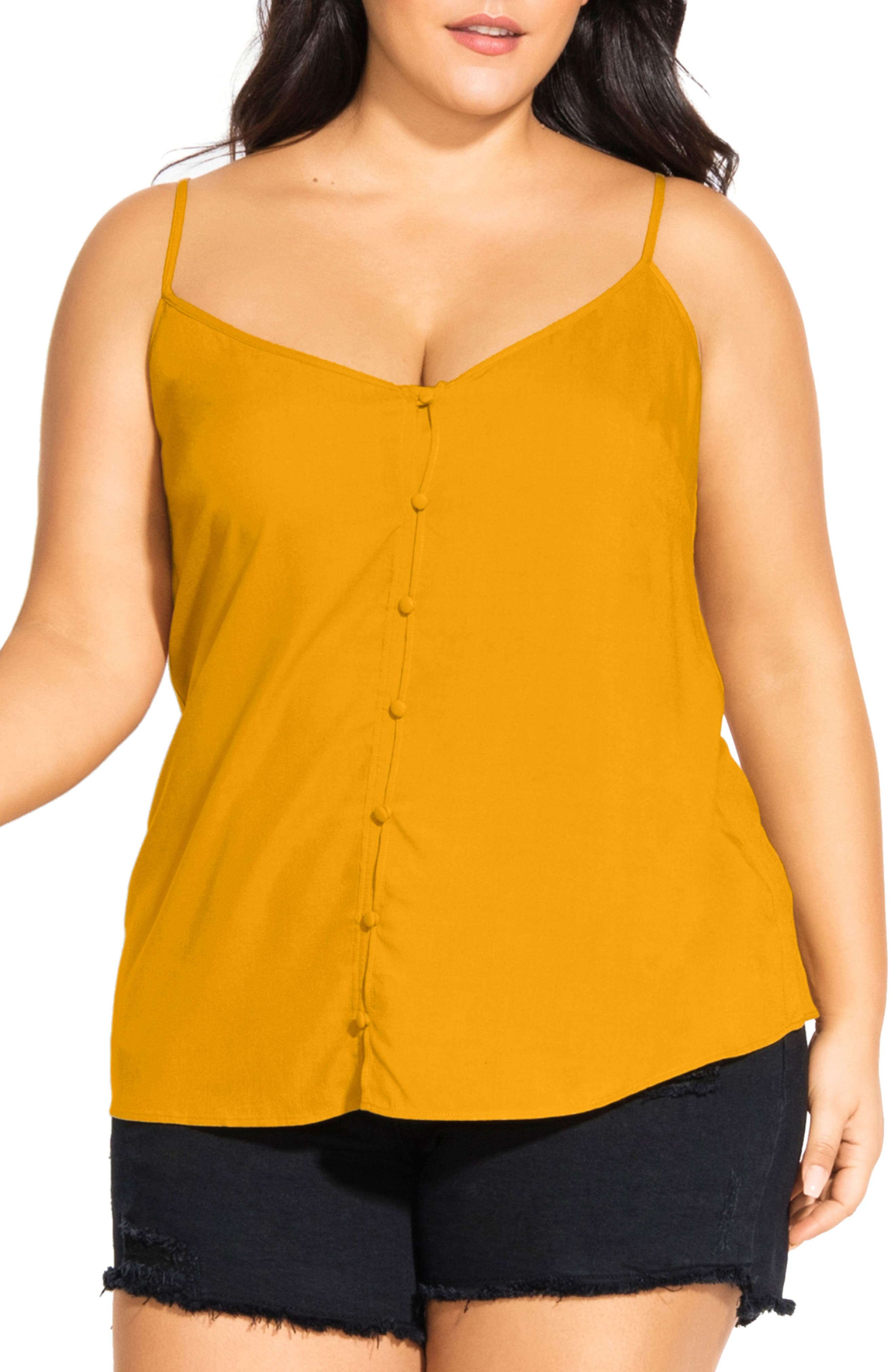 Plus Size City Chic Button Front Camisole Top