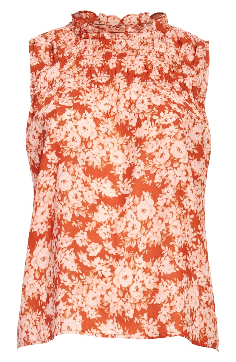 TREASURE & BOND Floral Shirred Sleeveless Blouse, Main, color, RUST BOLD FLORAL
