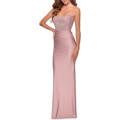 La Femme Lace & Jersey Trumpet Gown, Pink