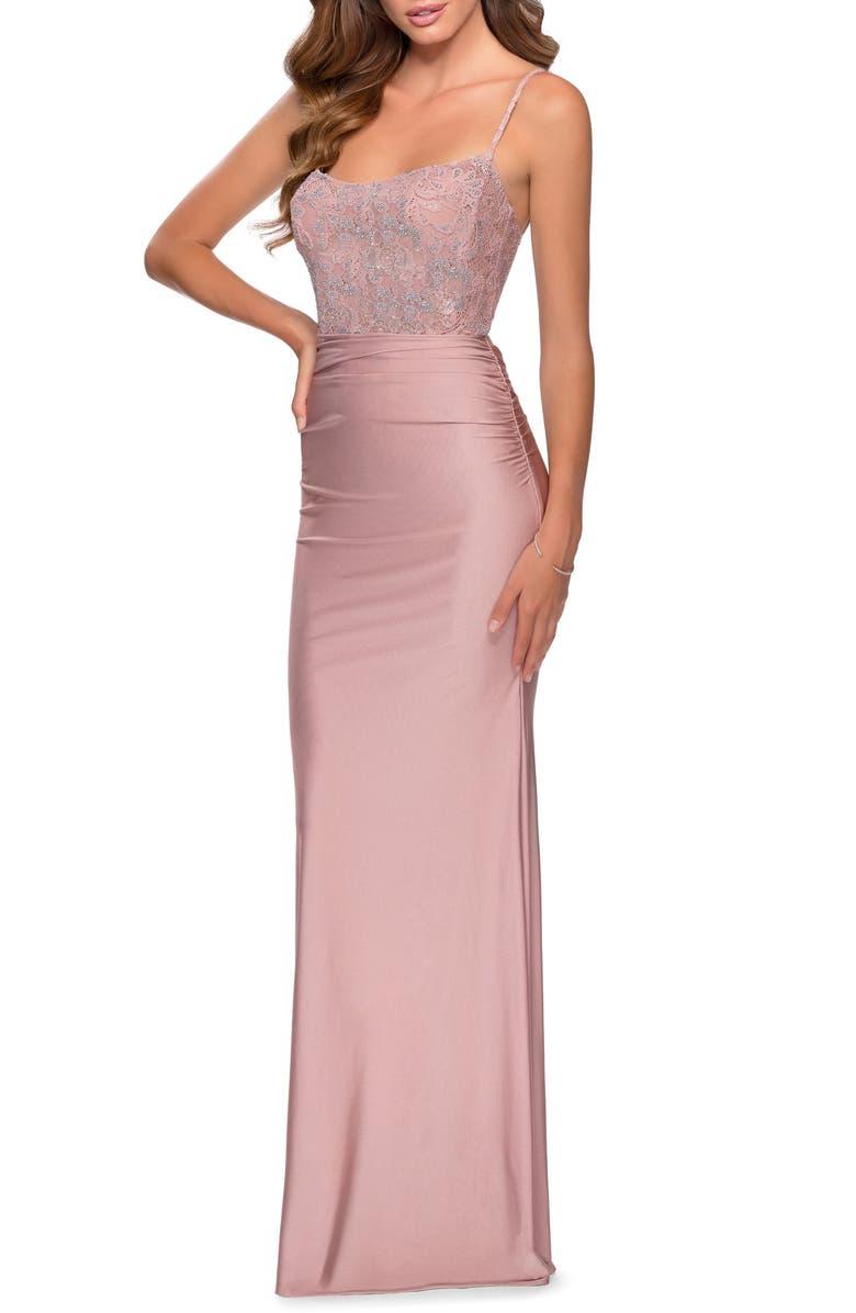 LA FEMME Lace & Jersey Trumpet Gown, Main, color, MAUVE
