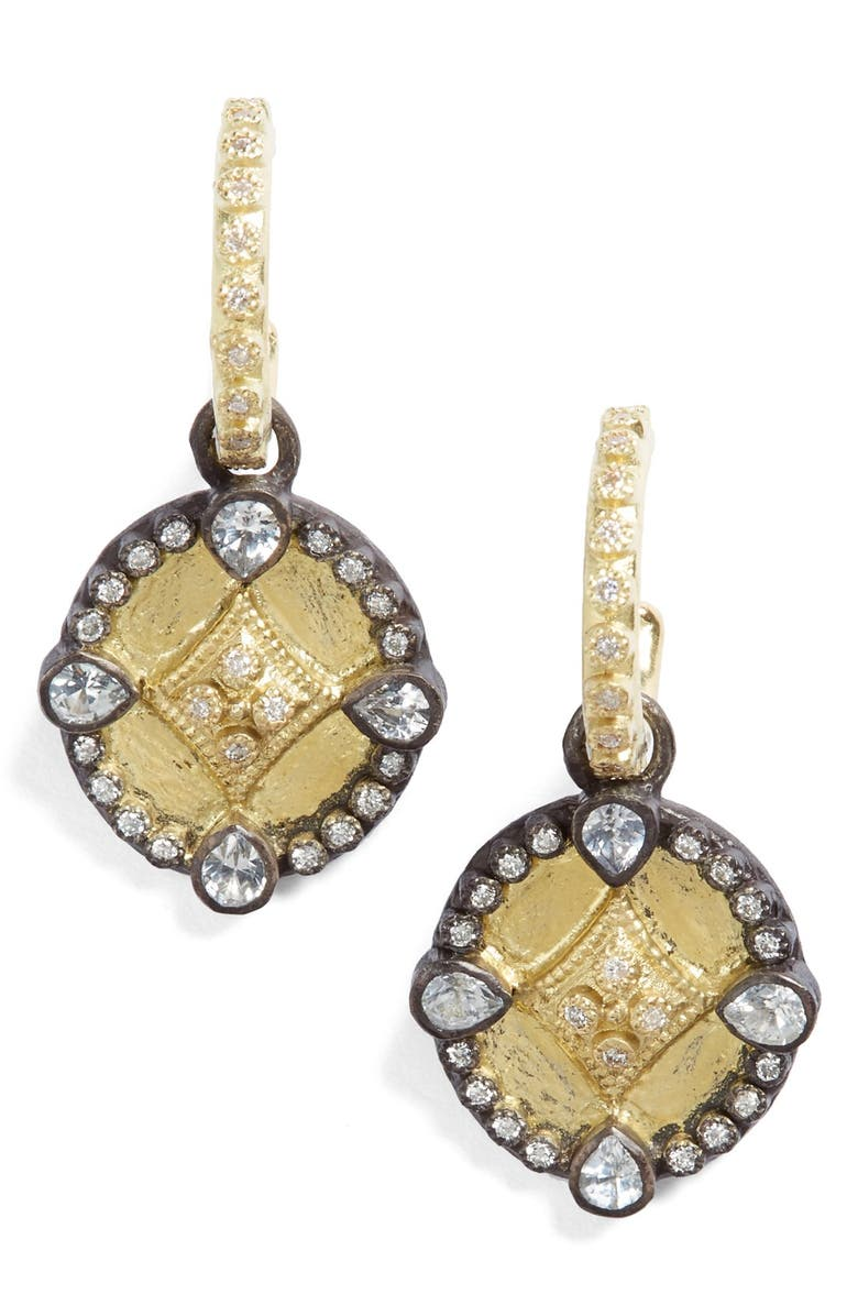ARMENTA Old World Shield Diamond Drop Earrings, Main, color, GOLD