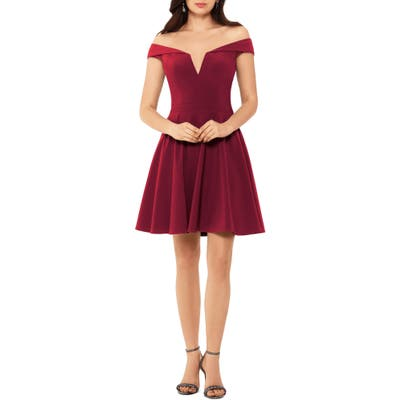 Xscape Off The Shoulder Skater Dress, Burgundy