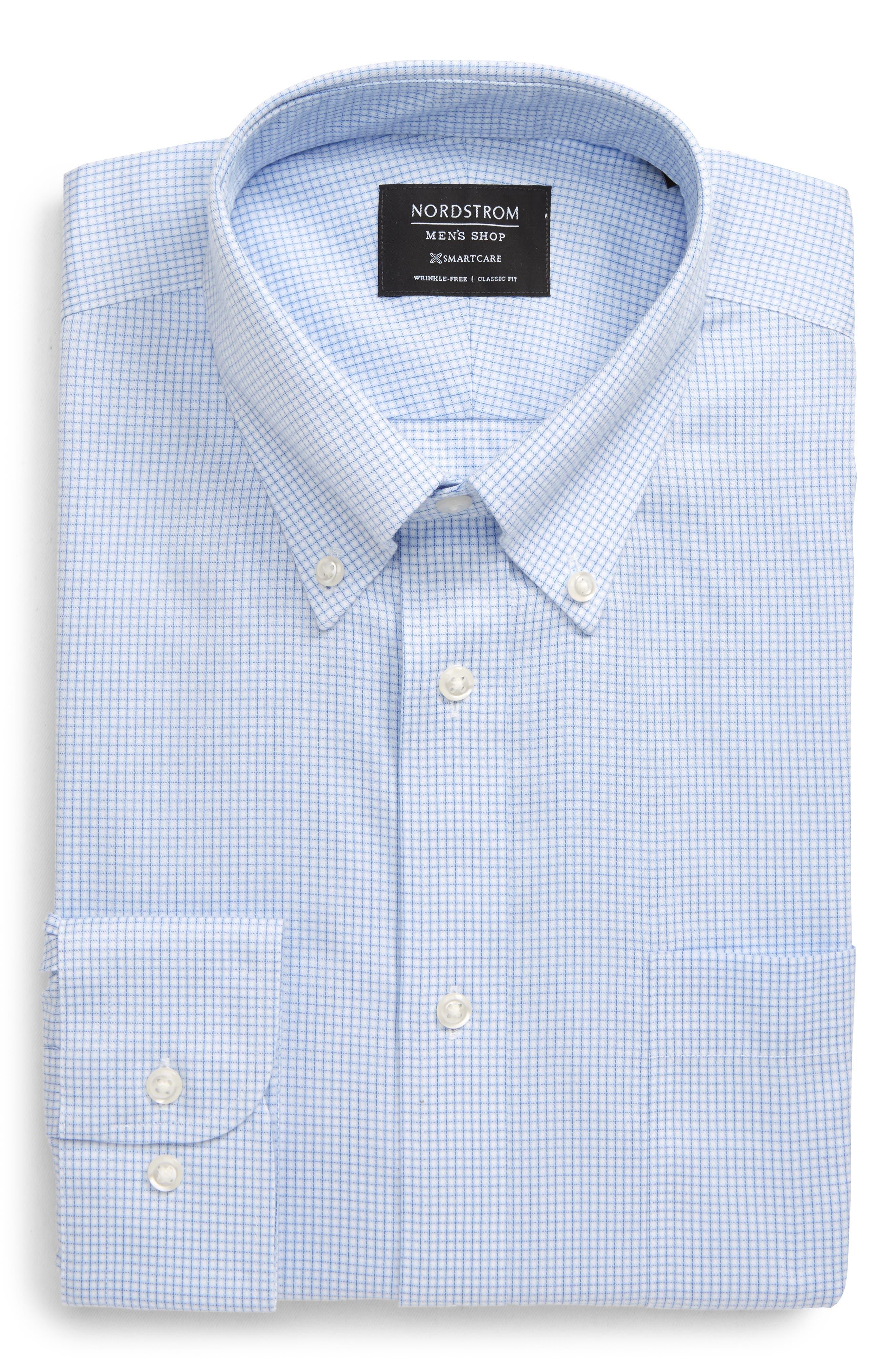 Mens Vintage Shirts – Casual, Dress, T-shirts, Polos Mens Big  Tall Nordstrom Mens Shop SmartcareTM Classic Fit Check Button-Down Dress Shirt Size 19.5 - 3839 - Blue $69.50 AT vintagedancer.com