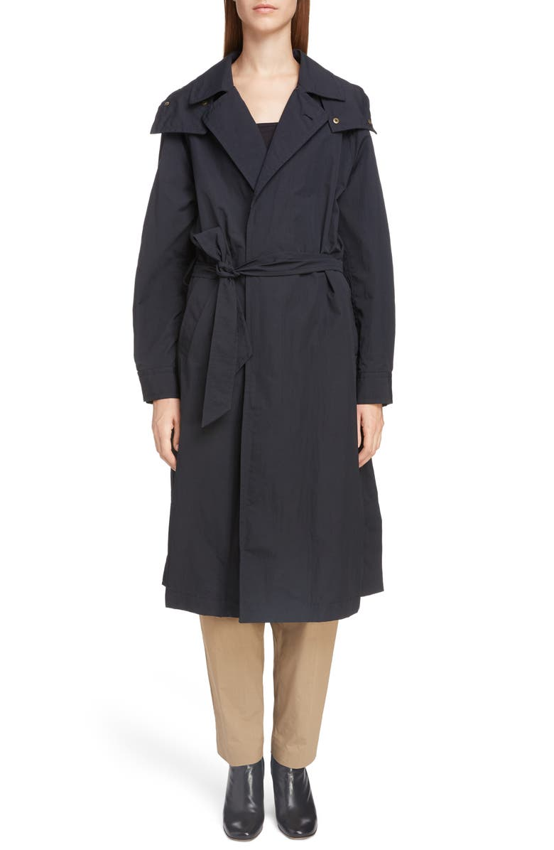 TOGA Long Hooded Taffeta Coat, Main, color, 001