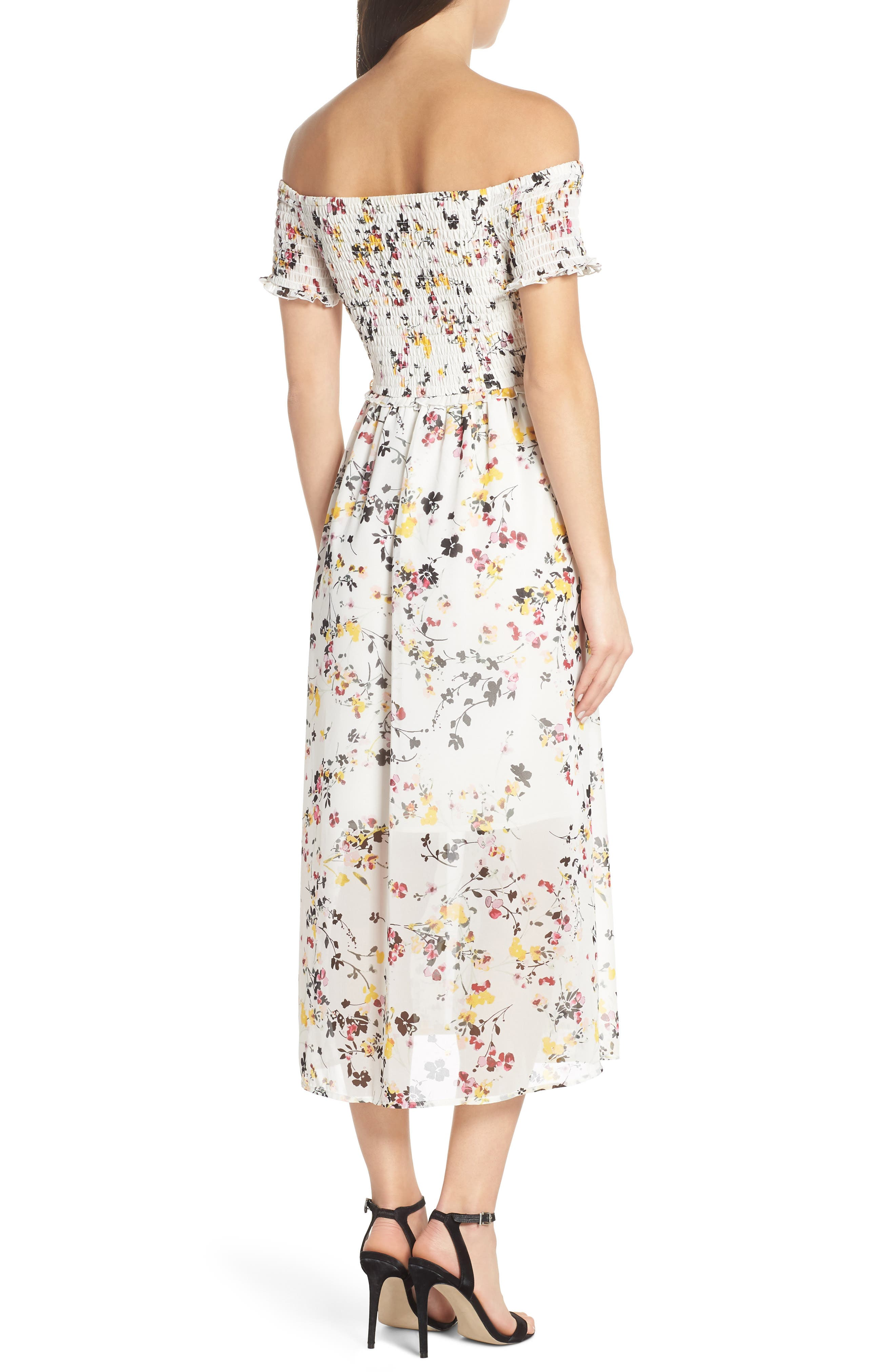 ,                             Floral Off the Shoulder Midi Dress,                             Alternate thumbnail 2, color,                             WHITE MULTI