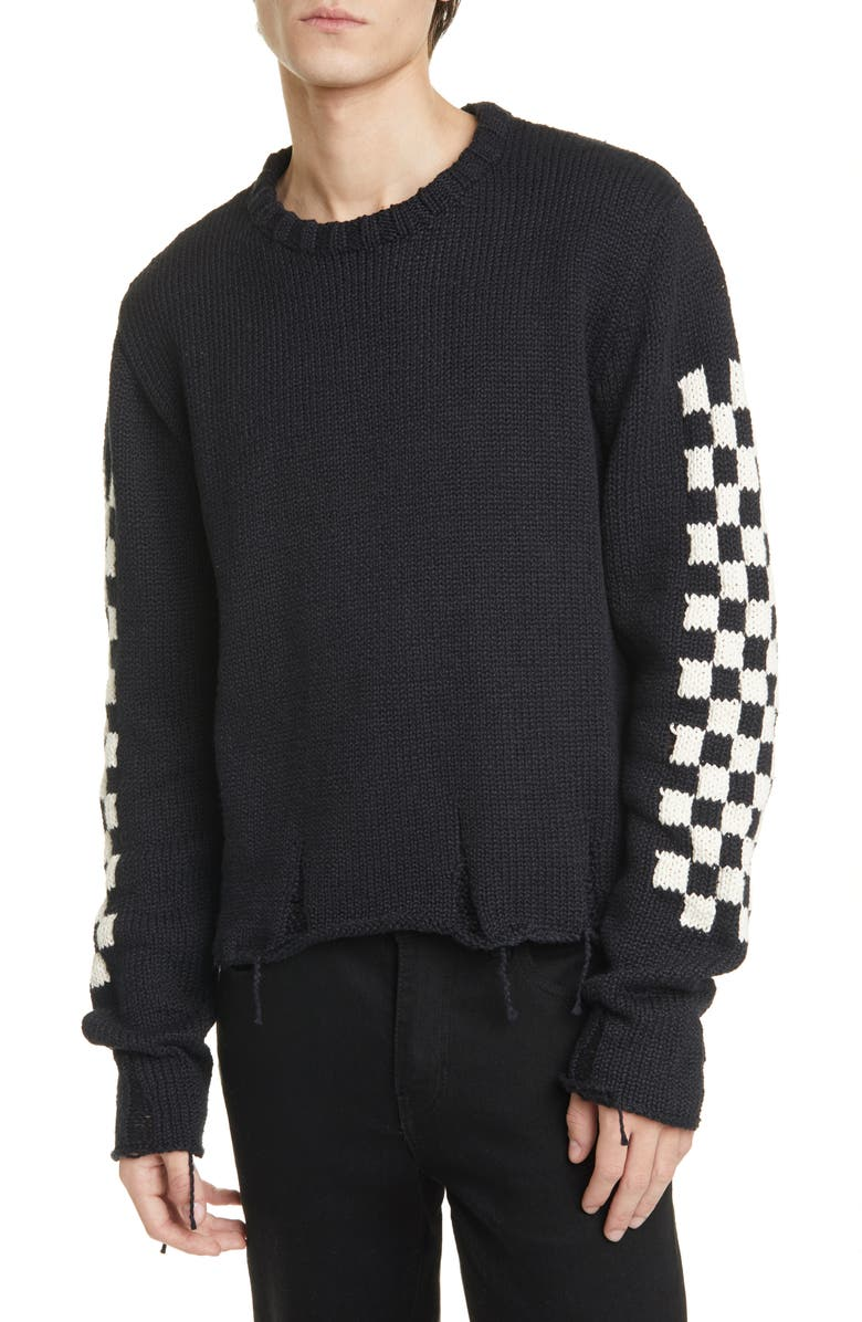 RHUDE Checkerboard Jacquard Distressed Sweater, Main, color, BLACK
