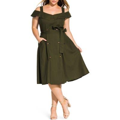 Plus Size City Chic Commando Linen Blend Cold Shoulder Dress, Green