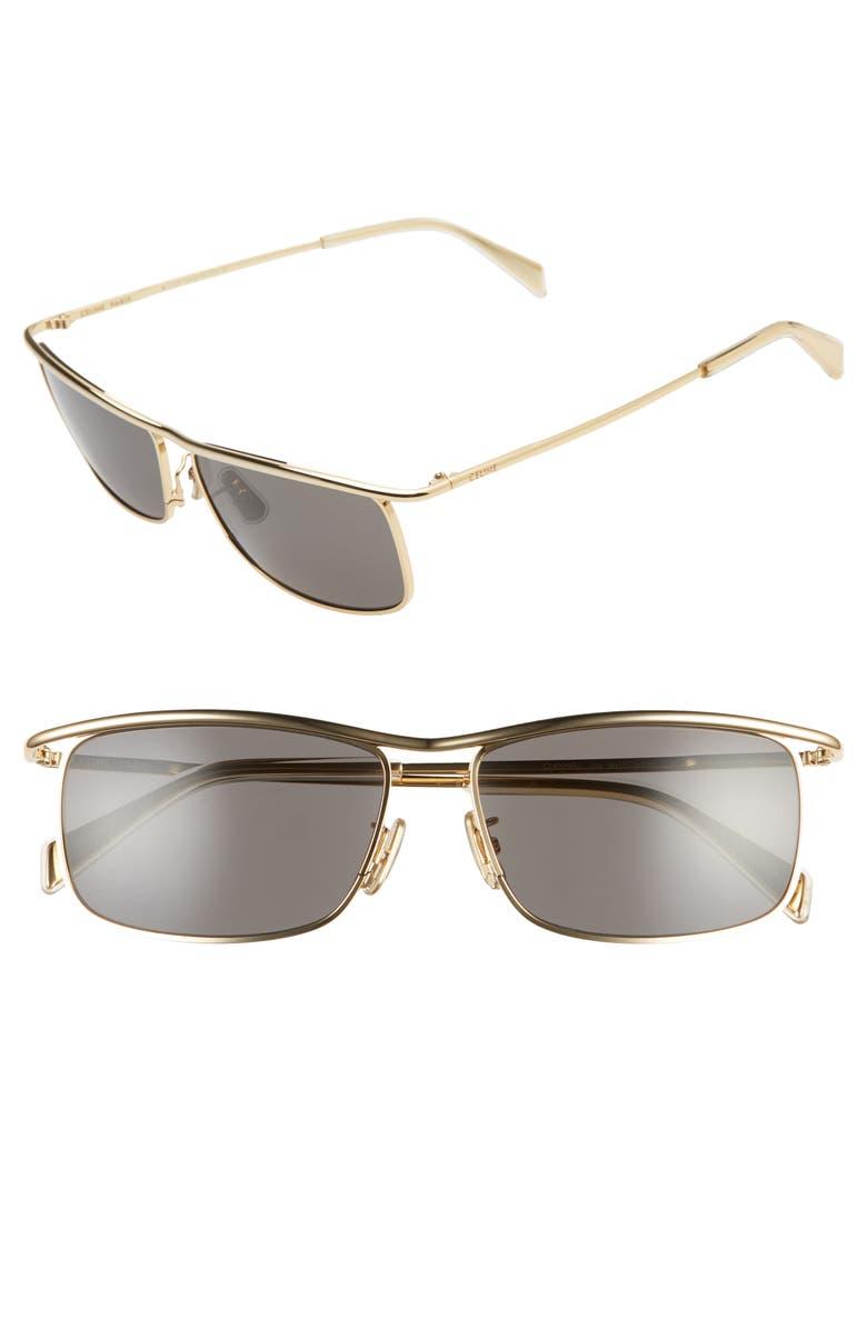 CELINE 58mm Navigator Sunglasses, Main, color, GOLD