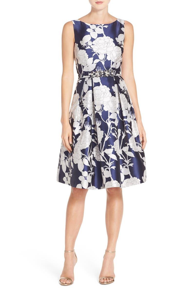 ELIZA J Belted Jacquard Dress, Main, color, 904