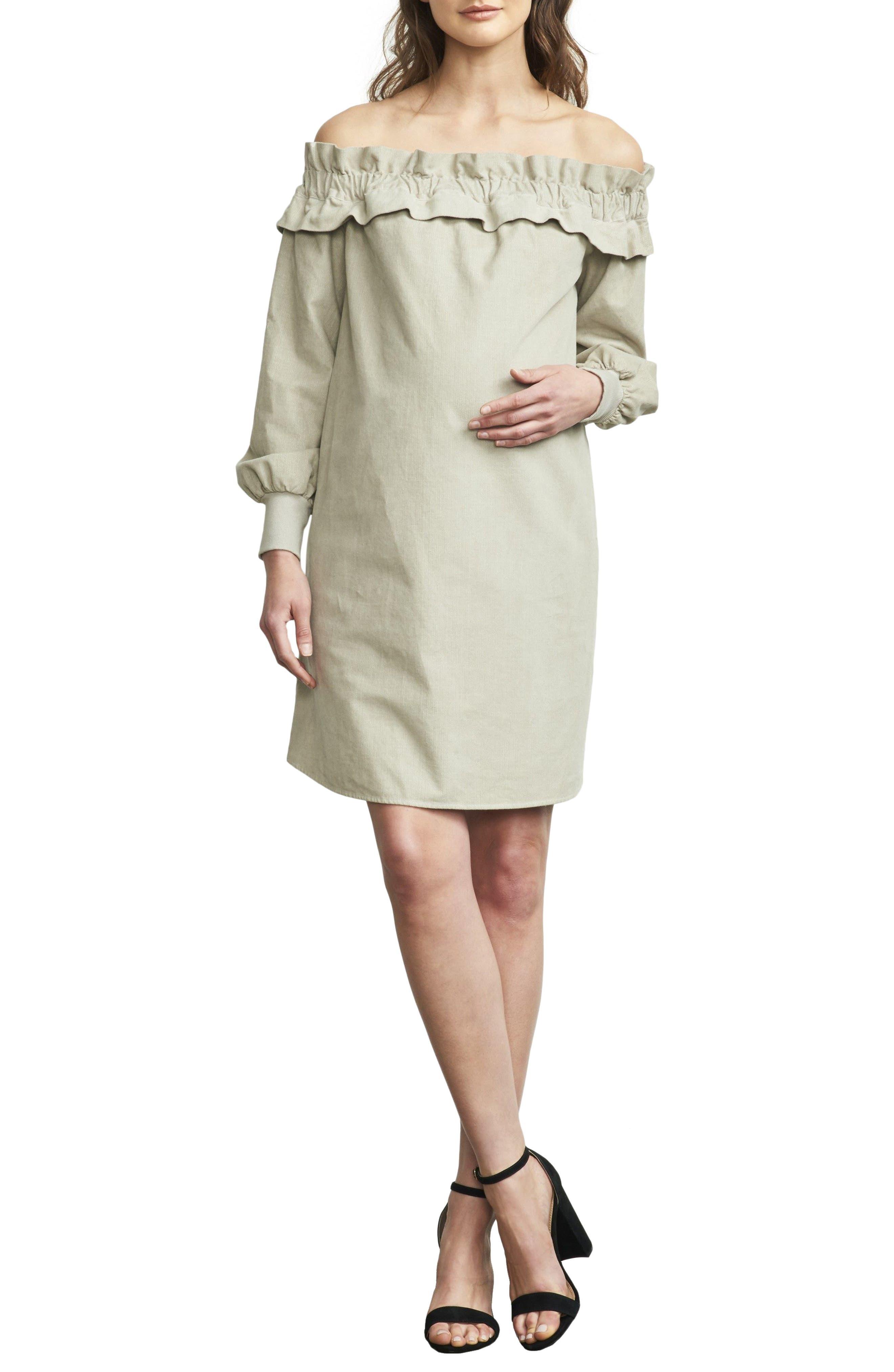 Maternal America Off The Shoulder Maternity Dress, Grey