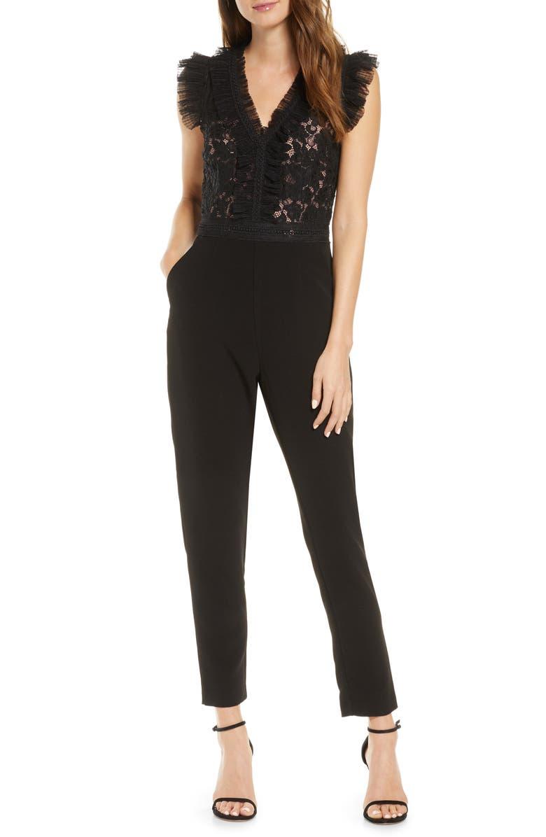 ADELYN RAE Deven Mesh & Lace Jumpsuit, Main, color, 001