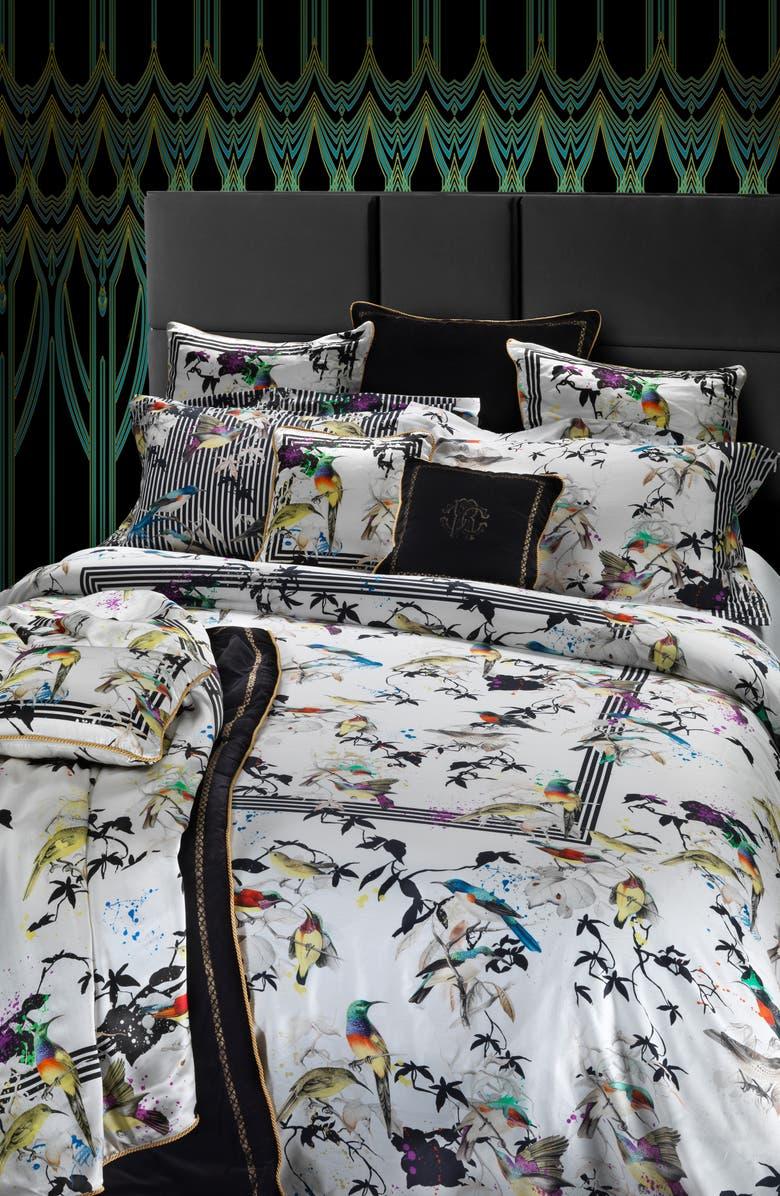 ROBERTO CAVALLI Birds Ramage Duvet Cover, Main, color, MULTICOLOR
