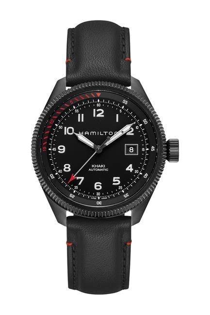 Image of Hamilton Men's Khaki Takeoff Air Zermatt Leather Strap Watch, 42mm