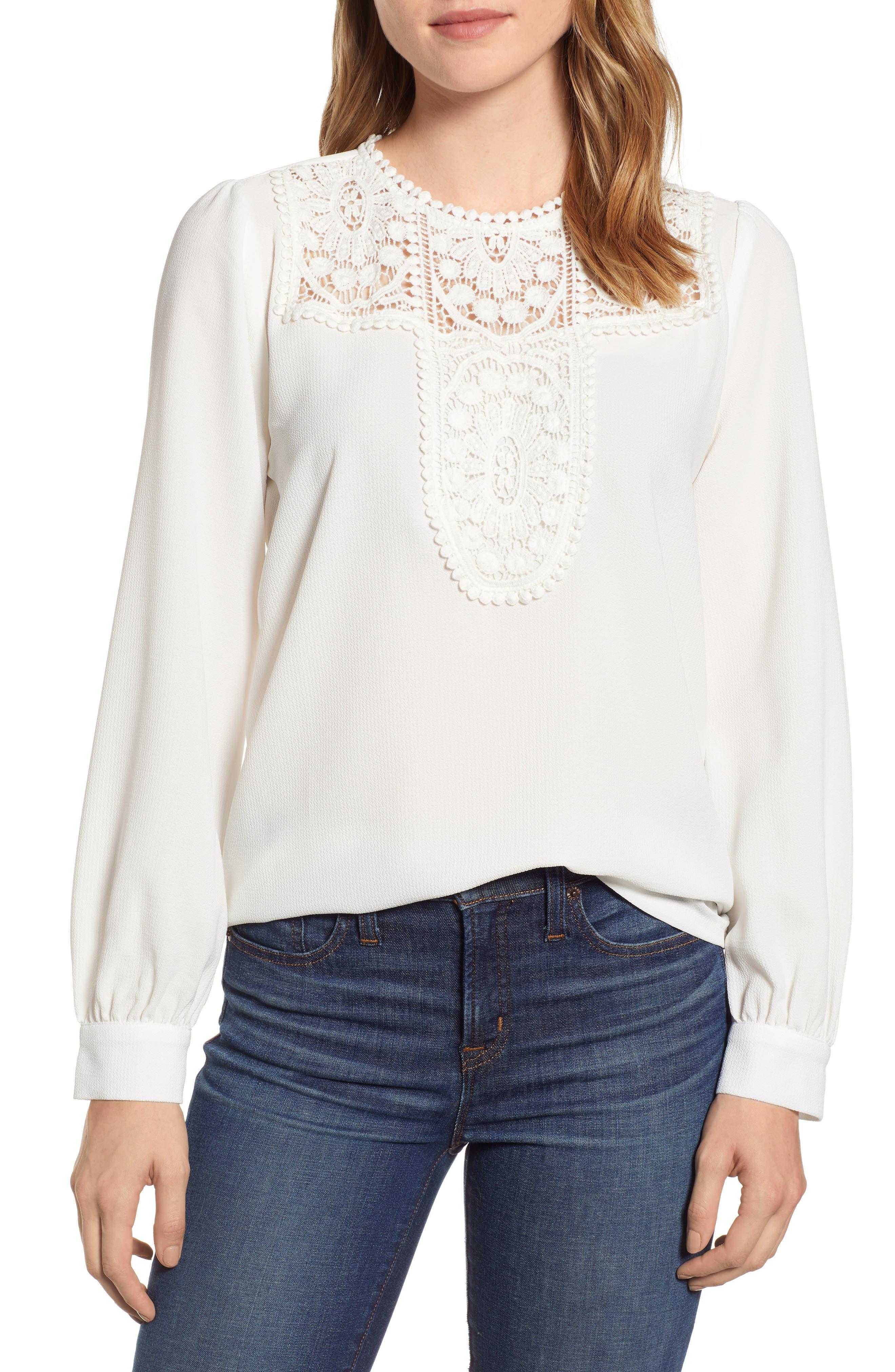 Lace & Crepe Blouse, Main, color, IVORY CLOUD