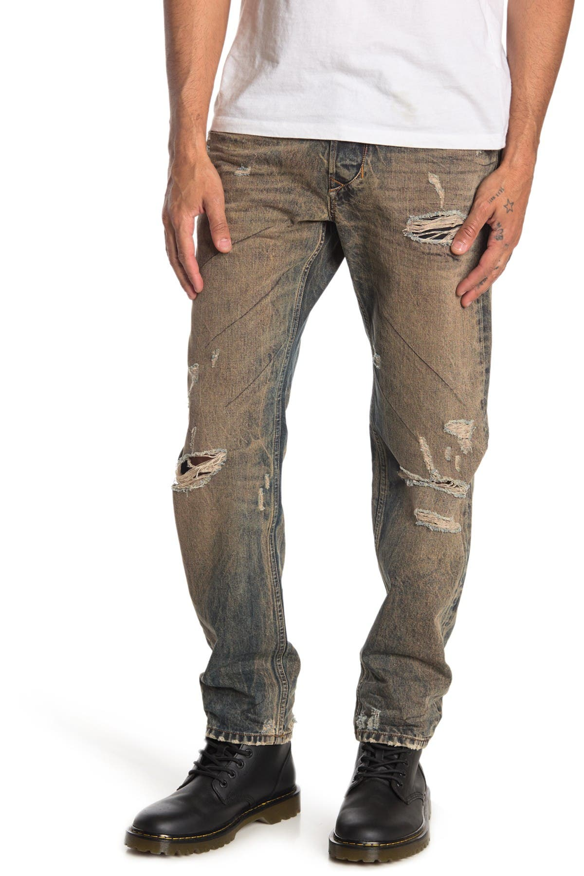 Image of Diesel Larkee Distressed Straight Leg Jeans