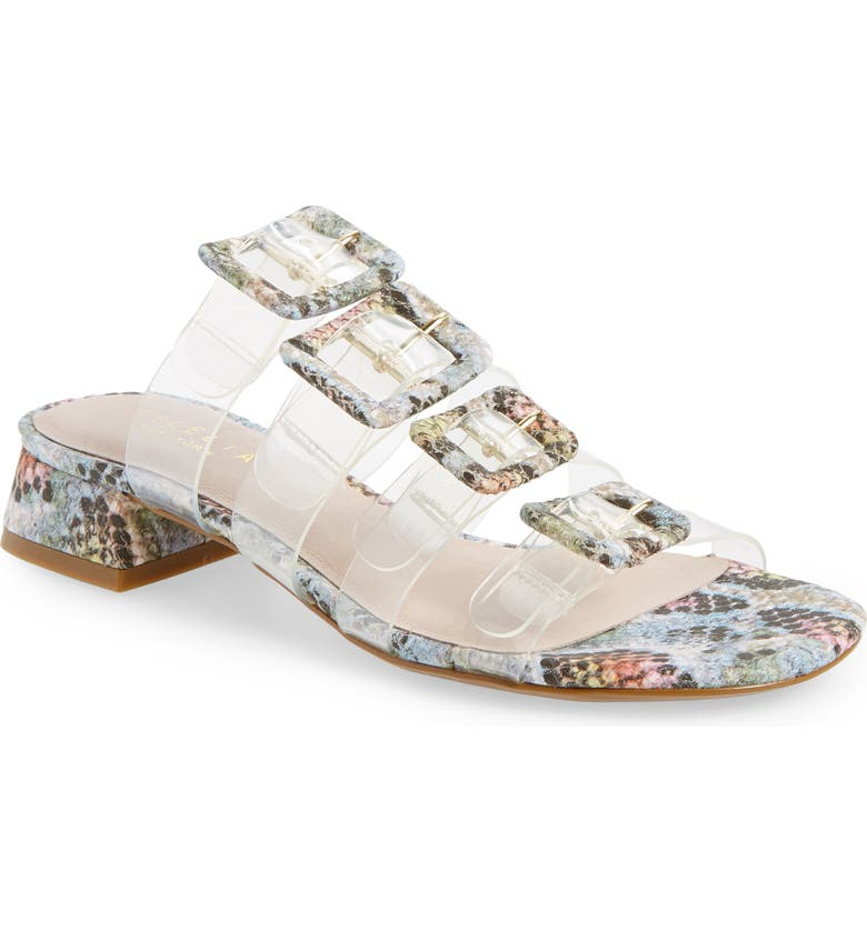CECELIA NEW YORK Lincoln Strappy Clear Slide Sandal, Main, color, RAINBOW SNAKE PRINT LEATHER